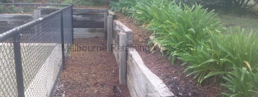 Fixing A Leaning Retaining Wall : Harkaway redgum sleeper retaining wall repair « melbourne